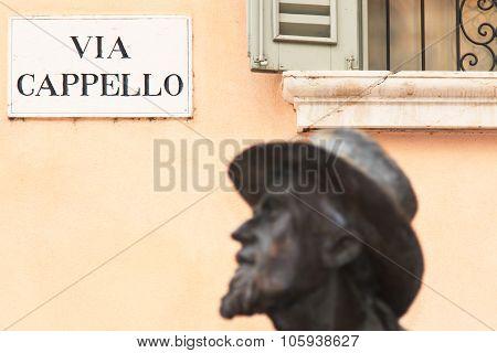 Statue Of Berto Barbarani Near Juliet's House, Verona