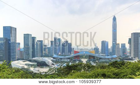 Shenzhen, China - August 27,2015: Shenzhen Cityscape At Sunset With The Civic Center And The Ping An