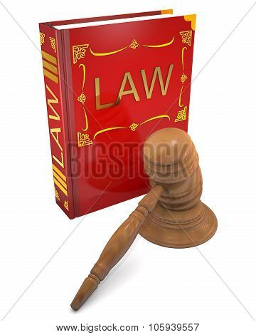 Code Of Laws And Gavel.