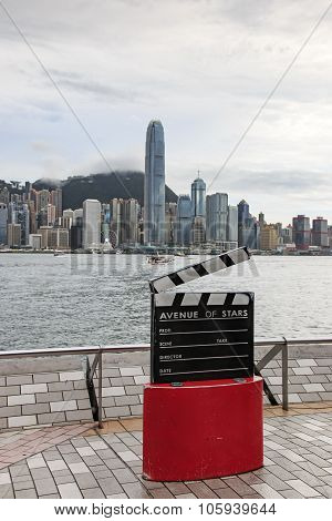 Kowloon, Hong Kong - August 13,2015: Avenue Of Stars, Modelled On The Hollywood Walk Of Fame, Is Loc
