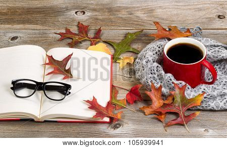 Reading And Drinking Dark Coffee For The Autumn Season