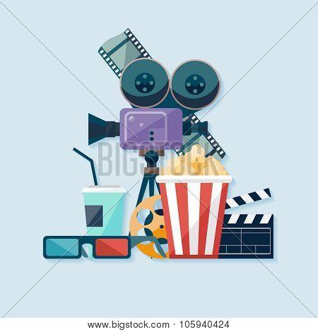 Cinema illustration. Flat design.