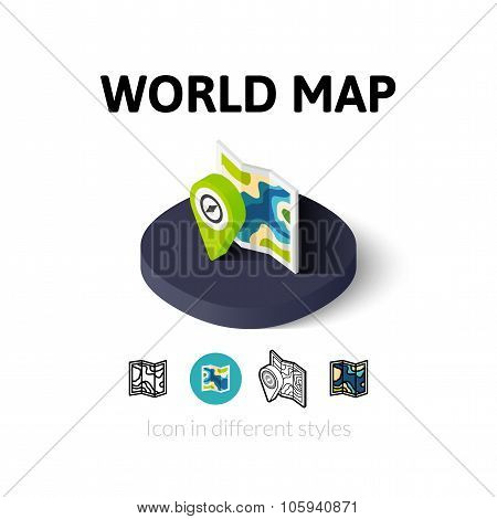 World map icon in different style
