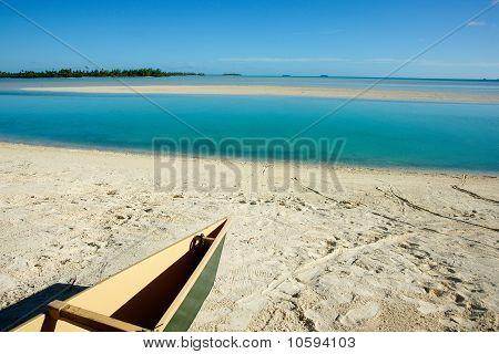 Canoe on beach.