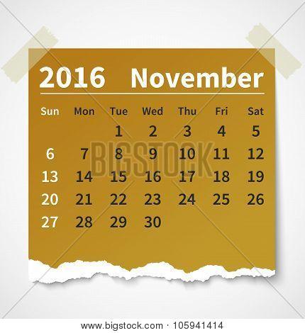 Calendar november 2016 colorful torn paper