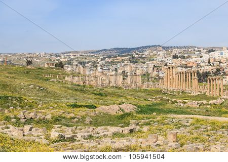 Amman, Jordan - March 23,2015: Ruins Of The Ancient Jerash, The Greco-roman City Of Gerasa In Modern