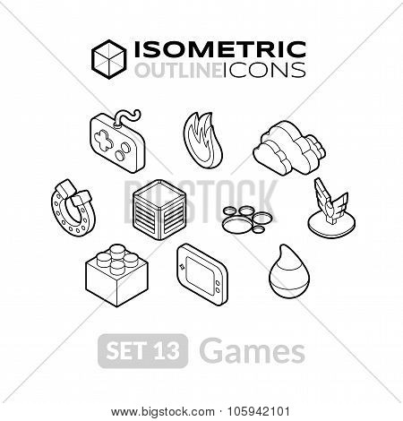 Isometric outline icons set 13