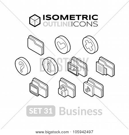 Isometric outline icons set 31
