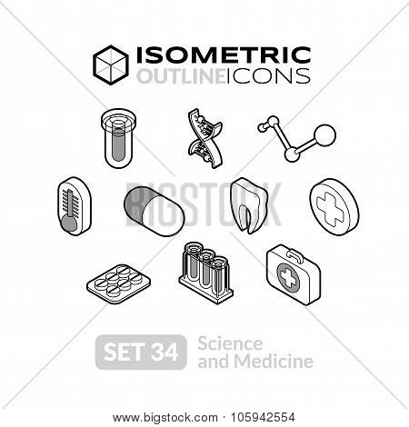 Isometric outline icons set 34