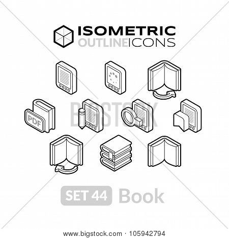 Isometric outline icons set 44