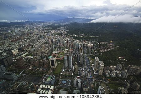 View Of Taipei City From Top Floor Of Taipei 101. Taiwan.
