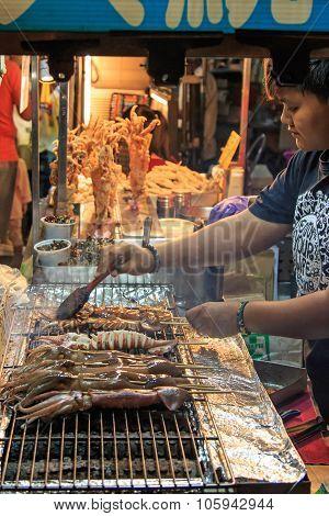 Kaohsiung, Taiwan - October 19, 2014: Street Food Market In Kenting Night Market