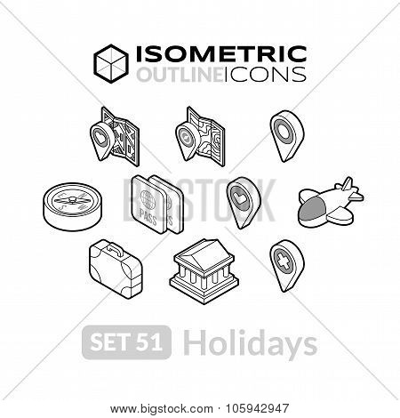Isometric outline icons set 51
