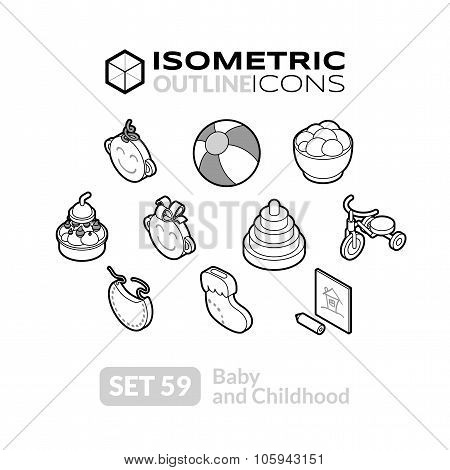 Isometric outline icons set 59