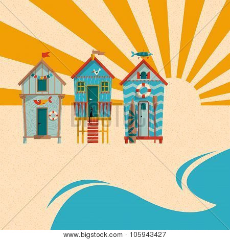 Beach Huts With Sand, Sea And Sun In The Background. Summer Holiday.