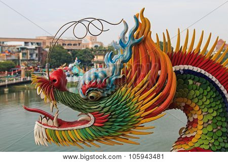 Detail Of The Dragon At Dragon And Tiger Pagodas Of Lotus Pond, Kaohsiung