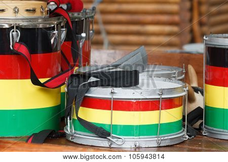 Several Colorful Drums