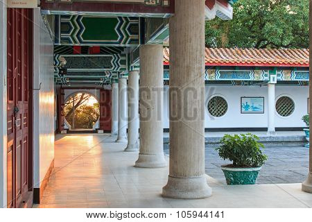 Kaohsiung, Taiwan - December 16, 2014:  Detail Of The Courtyard Inside The Martyr Shrine At Sunset