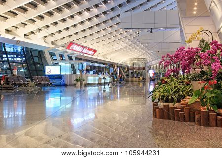 Taipei, Taiwan - January 9, 2015: Interior Of The Taiwan Taoyuan International Airport, The Busiest