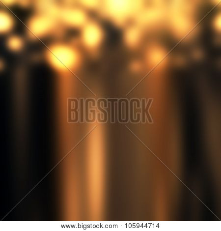 Christmas Background - Blurred Abstract Circular Bokeh. Golden Holiday Abstract Glitter Defocused Ba