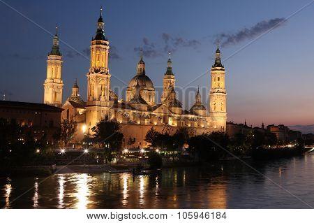 View Of The Basilica Of The Virgen Del Pilar And Ebro River, Zaragoza, Aragon, Spain
