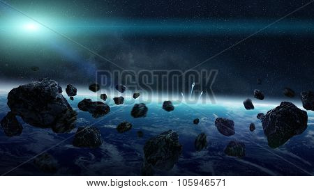 Meteorite Impact On Planet In Space
