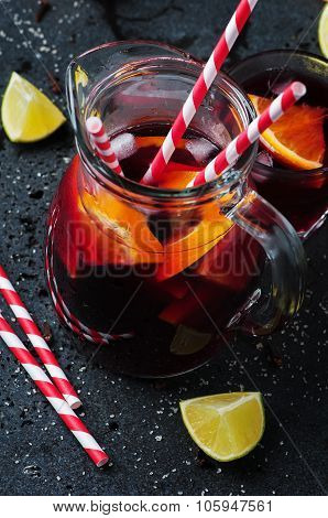 Spanish Sangria With Orange And Lime