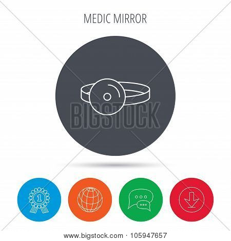 Medical mirror icon. ORL medicine sign.