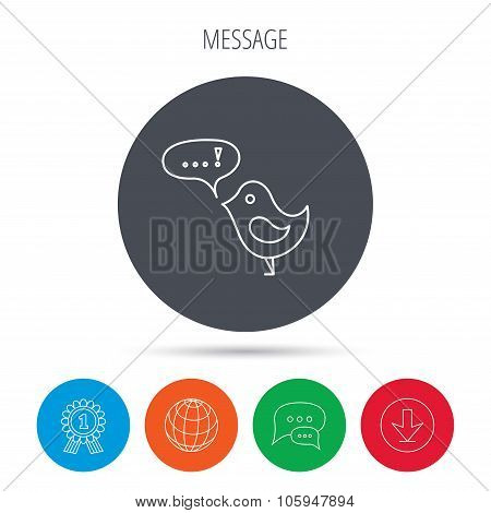 Bird with speech bubble icon. Chat talk sign.