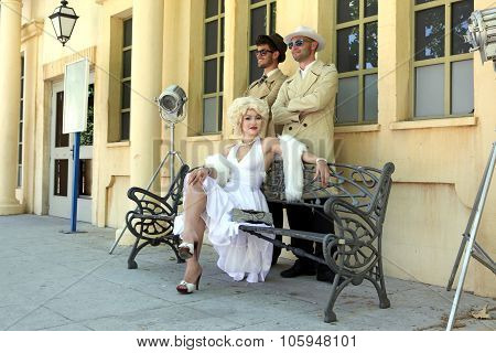 Impersonator Marylin Monroe And Boys In Barselona Spain 16 June 2013. Marylin Was An American Pop Ic