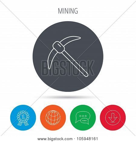 Mining tool icon. Pickaxe equipment sign.