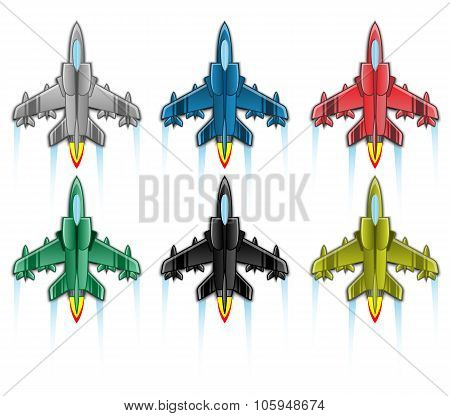 Combat Aircraft Icon Flat