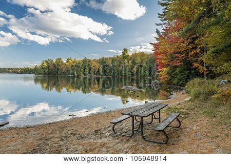 Picnic Table On A Beach In Autumn - Ontario, Canada