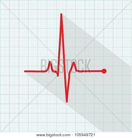 Vector Pulse Icon Isolated Over Cardiogram Grid