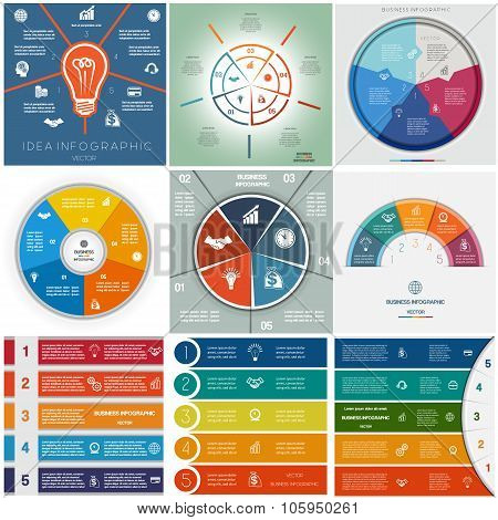 Set 9 Templates Infographics Cyclic Processes, Five Positions