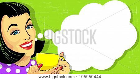 Woman With Cup Of Coffee And Speech Bubble.