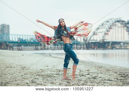 Beautiful Hippie Woman Posing Barefoot In The Sand By The River