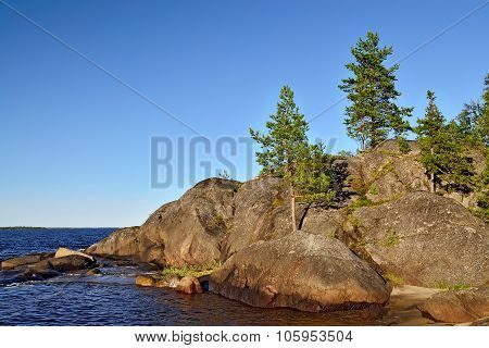 Karelian Landscape: Pines, Rocks And Water. Russia