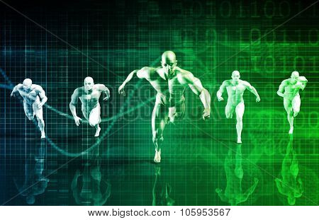 Business Success Concept with Running Men Art