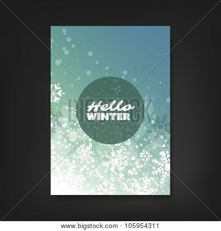 Hello Winter - Flyer, Card or Cover Design with Sparkling Patter Background - Corporate Identity, Christmas, New Year or Ad Design Template