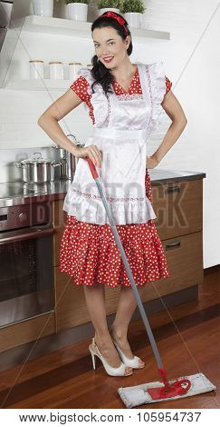 Woman With Mop Cleaning Floor