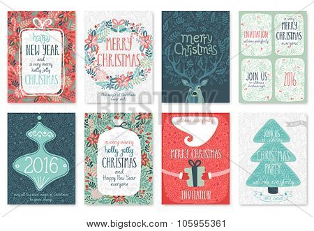 Christmas hand drawn card set. Vector illustration.