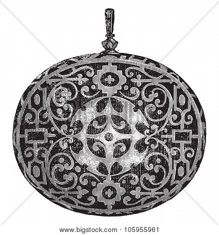 Belt mirror reverse, vintage engraved illustration. Magasin Pittoresque 1877.