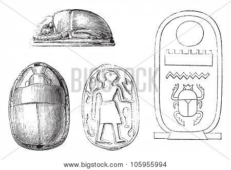 Egyptian stamps depicting sacred beetles, vintage engraved illustration. Magasin Pittoresque 1878.