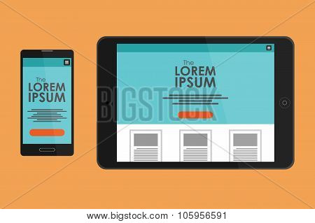 Vector mock-up. Adaptive website on the tablet and smartphone.