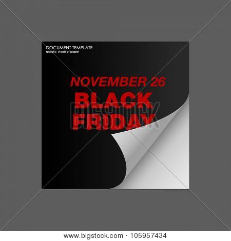 BLACK FRIDAY Sticker. Black realistic curved paper banner. Black friday sale. Vector illustration calendar