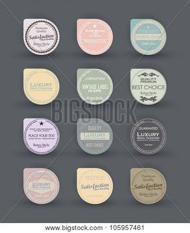 Sale design round elements. Label for black friday discount. Set vintage label design. Vector badges, labels, emblems, signs, medals and promotional stickers collection. Premium quality, 100% quality.