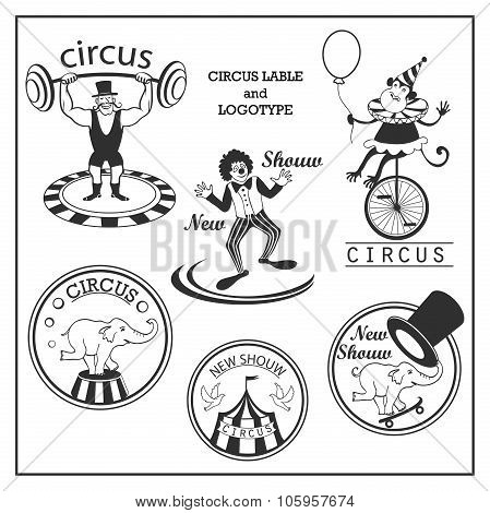 Sketch circus lable and logotype in vintage style