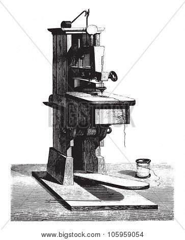 The first sewing machine invented by Thimonnier given at the Conservatory of Arts and Crafts by the Chamber of Commerce Tarare, vintage engraved illustration. Magasin Pittoresque 1878.