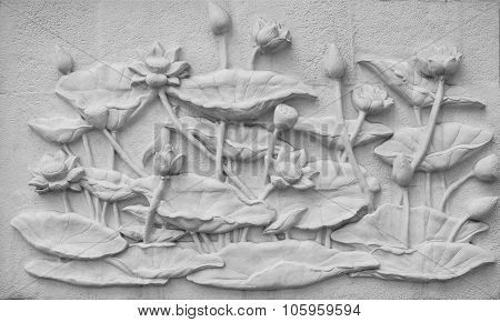 Lotuses Are Shown In Cement Plaster, Thailand